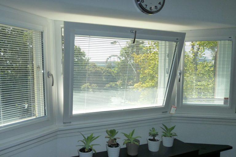 tilt and turn windows with white frames